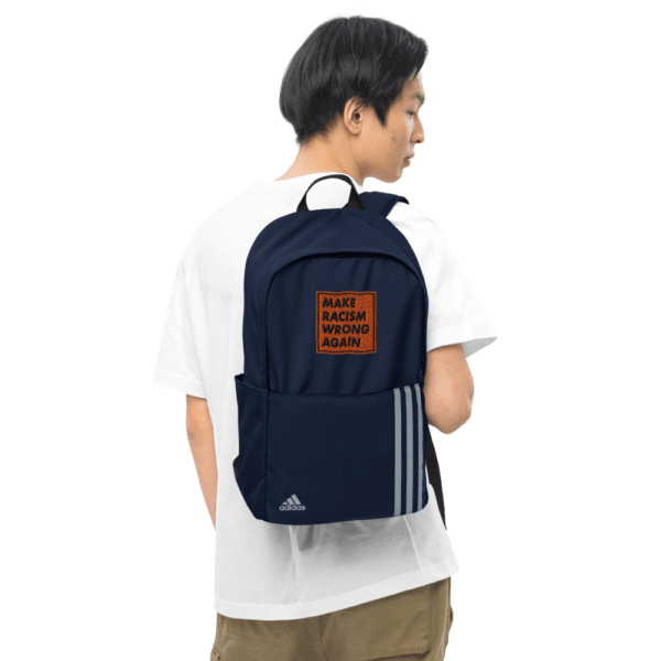"""""""Make racism wrong again"""" embroidered adidas Backpack blue male lifestyle picture 2 – Childish Clothing"""