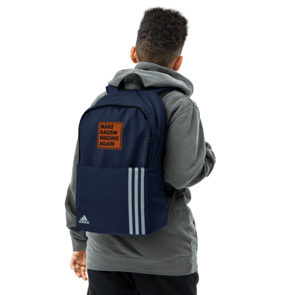 """""""Make racism wrong again"""" embroidered adidas Backpack blue male lifestyle picture 3 – Childish Clothing"""