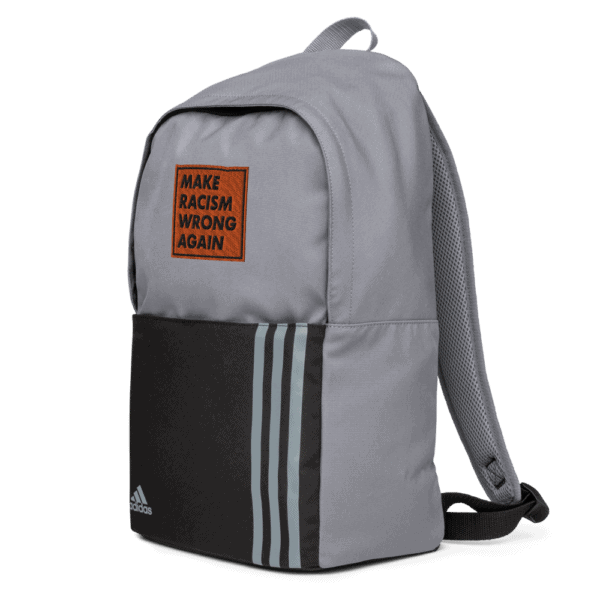 """""""Make racism wrong again"""" embroidered adidas Backpack gray right side – Childish Clothing"""