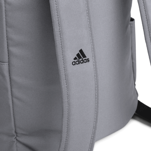 """""""Make racism wrong again"""" embroidered adidas Backpack gray details 2 – Childish Clothing"""