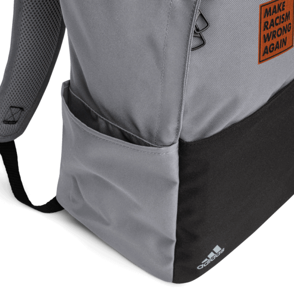 """""""Make racism wrong again"""" embroidered adidas Backpack gray details – Childish Clothing"""