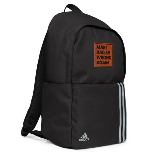 """""""Make racism wrong again"""" embroidered adidas Backpack black left side – Childish Clothing"""