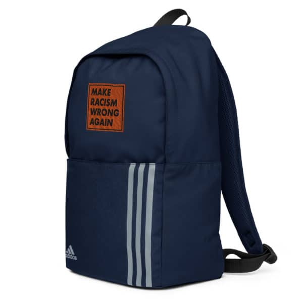 """""""Make racism wrong again"""" embroidered adidas Backpack blue right side – Childish Clothing"""
